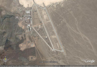 A zoomed out view of the main buildings at Area 51. This image was captured using Google Earth