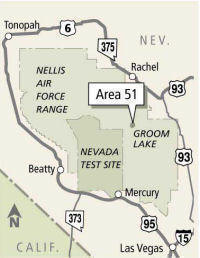 A map showing the vast size of Area 51